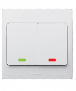 illuminated 2 gang 1 way switch