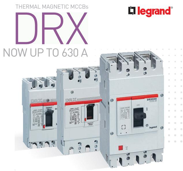 Thiết bị đóng cắt Legrand DRX có hạn dòng cắt lên đến 630A