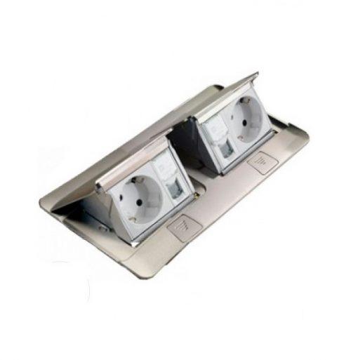 Hộp âm sàn 6 module, mặt nhôm