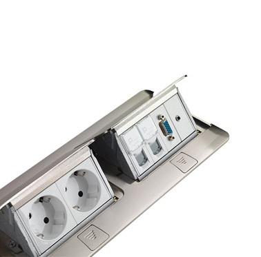 Hộp âm sàn 8 module, mặt thép không gỉ